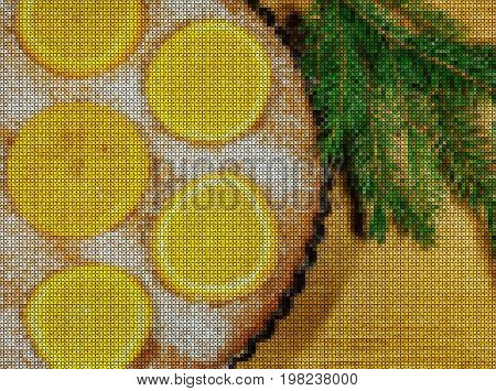 Illustration. Cross stitch. New Year 2018. Cake with oranges. Fir branch with christmas decoration on a wooden background.
