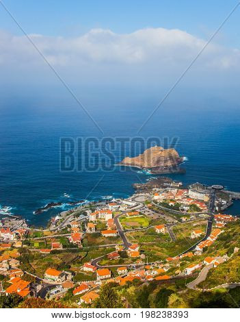 The resort settlement on the ocean coast. Exotic island in the Atlantic Ocean - Madeira. Concept of exotic and ecological tourism