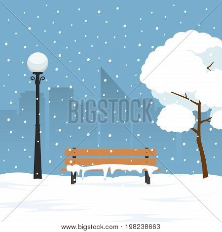 Winter landscape in city park. Park bench and trees covered by snow. Vector Illustration in flat syle.