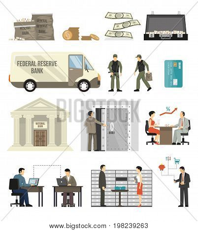 Flat design set of bank building clerks clients banknotes and coins isolated on white background vector illustration