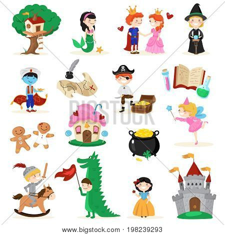 Set of fairytale characters in cartoon style including tree house, mermaid, gingerbread men, witch isolated vector illustration