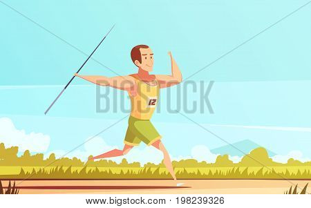 Sportsman retro cartoon composition with male human character running in field with javelin dart flinging spear vector illustration