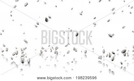 3D illustration of Many Rugby balls raining with a reflecting floor and a white background