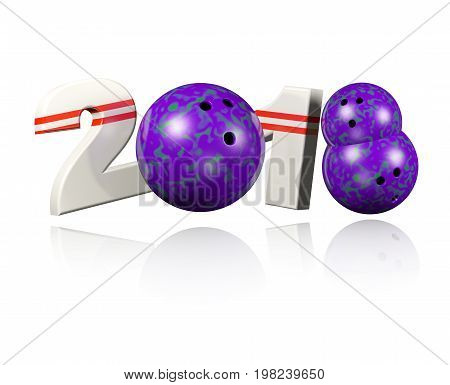 3D illustration of Three Bowling balls 2018 Design with a white Background