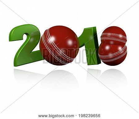 3D illustration of Three Cricket balls 2018 Design with a white Background