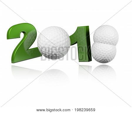 3D illustration of Three Golf balls 2018 Design with a white Background