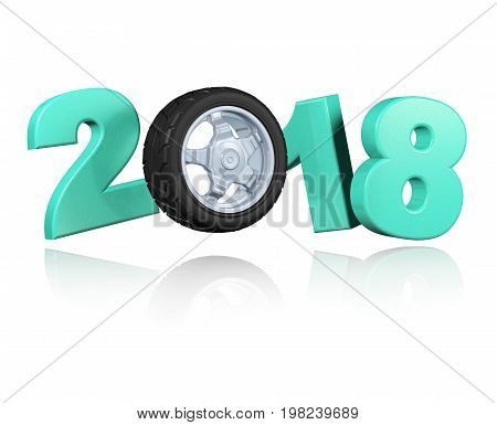 3D illustration of Wheel 2018 Design with a white Background