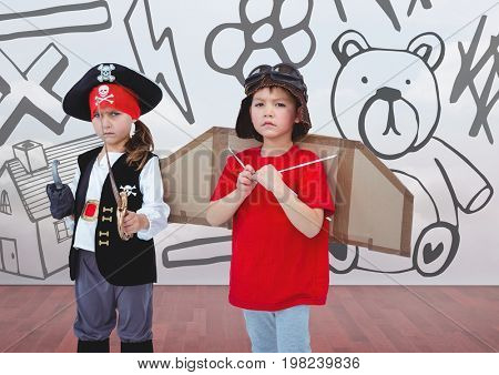 Digital composite of Pirate girl and pilot boy in room with kids drawing graphics