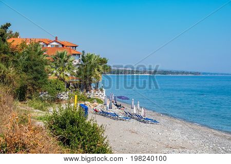 View of pebble beach in Platamonas. Pieria Central Macedonia Greece Europe
