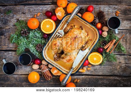 Baked Whole Chicken Wooden Table