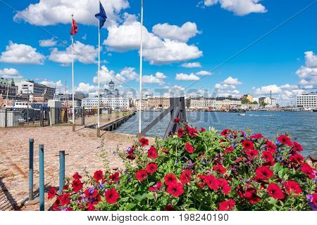 View of Northern Harbour and Port in Helsinki. Finland Scandinavia