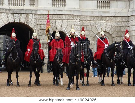 Royal horseguards on parade in London