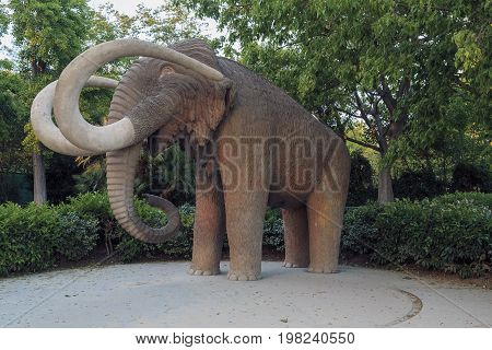 BARCELONA, SPAIN - MAY 12, 2017: It is monument to Mammoth in the Ciutadella Park.