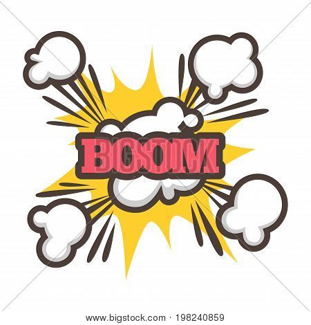 Big boom with powerful sparkle and dust clouds isolated vector illustration on white background. Cartoon effect of object fall, strong punch or small explosion. Thick sign that characterizes sound.