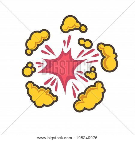 Small red explosion with yellow clouds isolated vector illustration on white background. Cartoon effect of magic disappearance or powerful burst that creates bright sparkle and colorful dust.