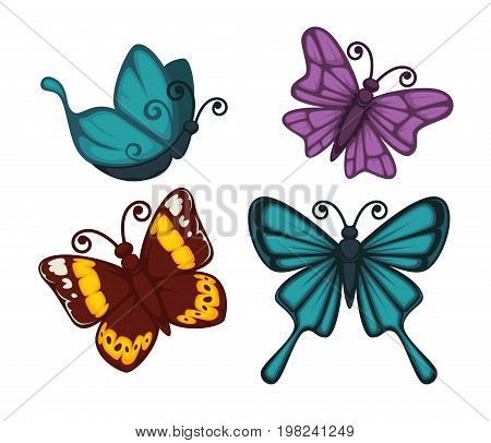 Exotic tropical butterflies with unusual elegant wings isolated vector illustrations set on white background. Amazing insects of deep turquoise, saturated purple and dark scarlet colors with patterns.