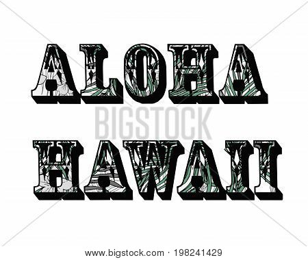 Tropical background. Aloha Hawaii. Palm trees leaves.