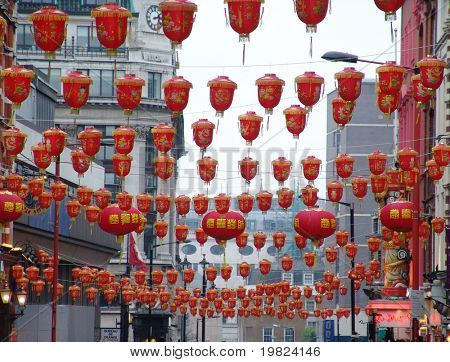 red lanterns at Chinese New Year in London