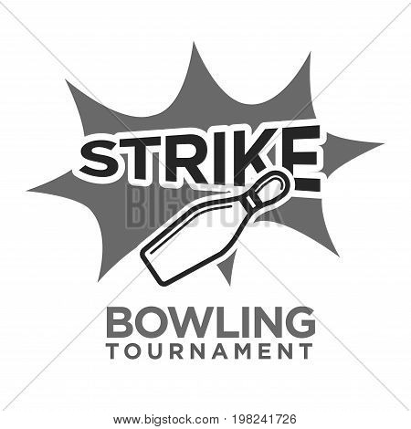 Strike bowling tournament monochrome logotype with skittle big thick sign on symbol of burst isolated flat vector illustration on white background. Big important competition promotional emblem.