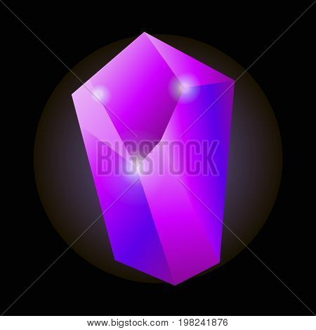 Shiny purple natural crystal with luminescent properties isolated cartoon vector illustration on black background. Uncut precious stone of bright neon color with small sparkles on sharp edges.