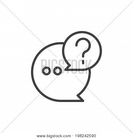 QnA line icon, outline vector sign, linear style pictogram isolated on white. Questions and answers symbol, logo illustration. Editable stroke. Pixel perfect vector graphics