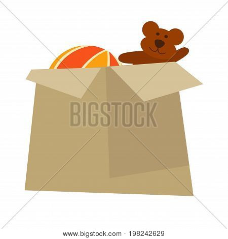 Cardboard box with teddy bear and colorful striped inflatable ball isolated cartoon vector illustration on white background. Old toys in container. Stuff packed for charity or dwelling change.