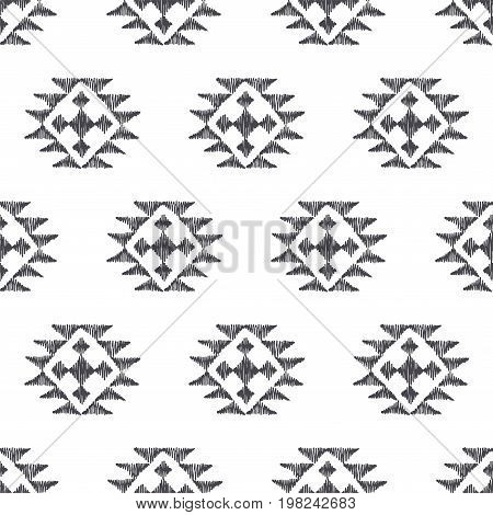 Tribal indian american seamless pattern. Vector hand drawn geometrical ornaments. Ethnic texture with mexican motifs