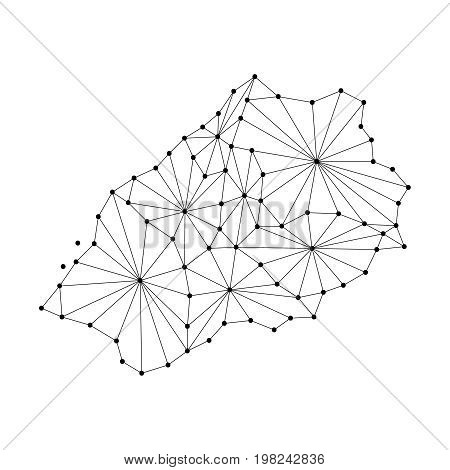 Saint Helena map of polygonal mosaic lines network rays and dots vector illustration.