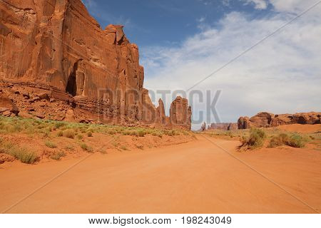Dirt Road through Monument Valley in Arizona. USA