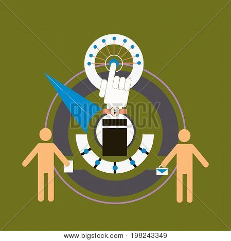 Business benchmarking concept, benchmark measure. Pictograms of men and scale the arrow. Vector business illustration.