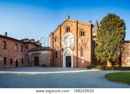 View of the Abbey of Viboldone Milan. italy