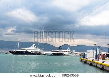 Fast and luxury yachts at the dock. Marina Zeas Piraeus Greece