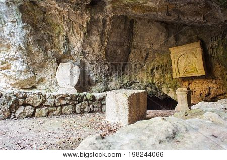 The Duino Mithraeum in the province of Trieste. Mithraea were places of worship for the followers of the Roman mystery religion known as the Mithraic Mysteries
