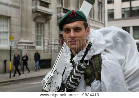 CITY OF LONDON, ENGLAND - NOVEMBER 12: An unidentified soldier in white snow camouflage at the Lord Mayor's Show in the City of London on November 12, 2010. The Lord Mayor's Show is an 800 year old yearly parade.