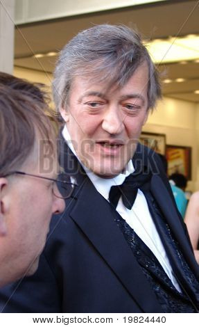 REGENT STREET, LONDON - MAY 11 - Stephen Fry the famous actor being interviewed at product launch in regent Street, London on May 11, 2010. Stephen Fry is famous actor, comedian and TV presenter.