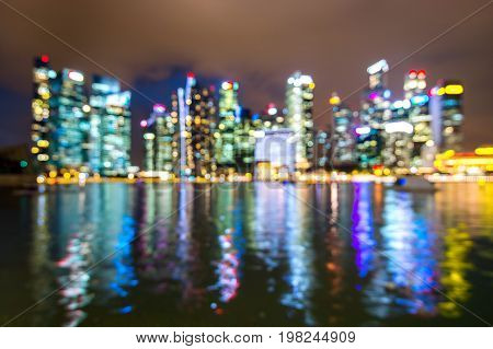 Abstract blurred lights city background. Bokeh background