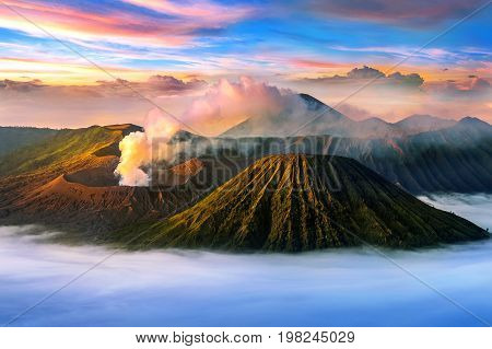Mount Bromo volcano (Gunung Bromo)in Bromo Tengger Semeru National Park East Java Indonesia.