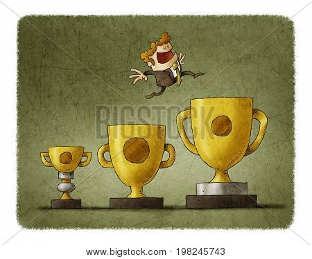 Businessman jumps from trophy to trophy each time to one bigger