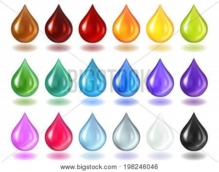 A big set of multi-colored translucent drops with a shadow isolated on a white background. Drops of oil, juice, water, cosmetics. Realistic vector illustration.