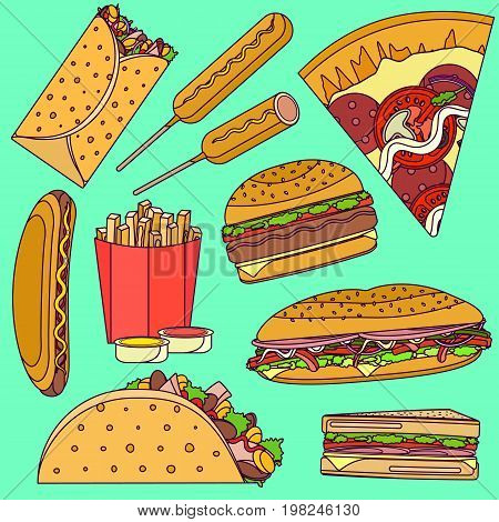 Flat bright pop art vector fast food icons set including burrito, burger, pizza, sandwich, taco, corn dog. Tasty cartoon colorful fastfood symbols for take away cafe, bar, restaurant menu design.