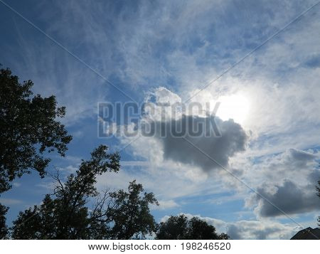 Cloud formation in summer with trees in distance or background