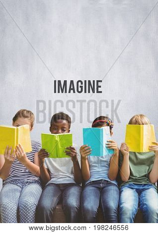 Digital composite of Group of children reading books in front of Imagine text