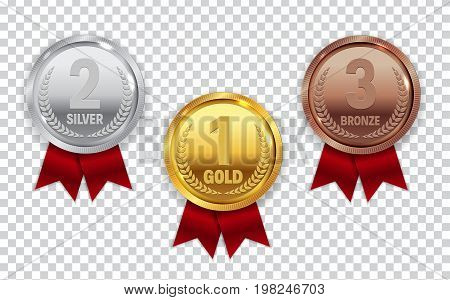 Champion Gold, Silver and Bronze Medal with Red Ribbon Icon Sign First, Secondand Third Place Collection Set Isolated on Transparent Background. Vector Illustration EPS10