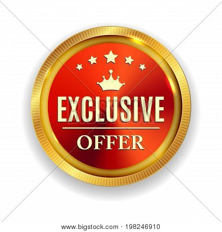 Exclusive Offer Golden Medal Icon Seal  Sign Isolated on White Background. Vector Illustration EPS10