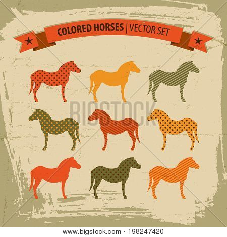 Colored horses icons set with title and ribbon flat isolated vector illustration