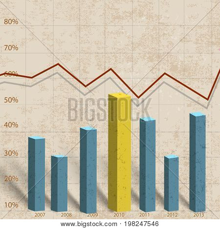 Volume histogram template with the percentage ratio in different colors vector illustration