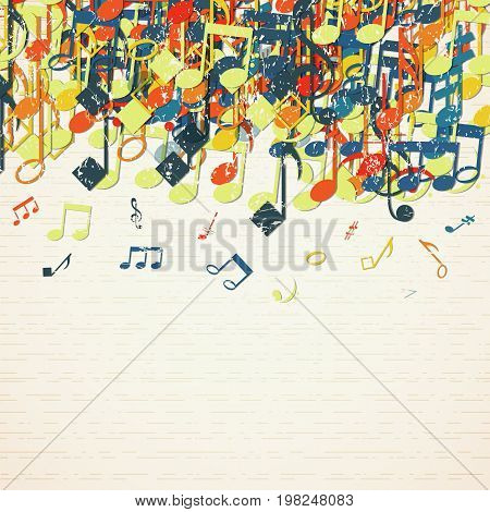 Colorful music background on musical theme with multiple notes and isolated elements icon set vector illustration