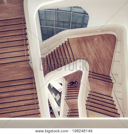 Seoul - July 2017: Futuristic interior of Dongdaemun Design Plaza. Staircase top view.