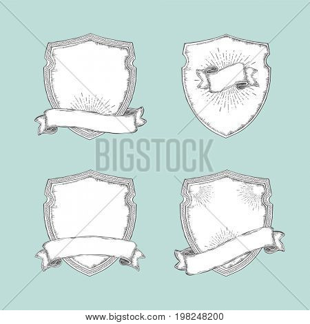 Heraldic shield with various decorative ribbons on a white background. Vintage elements decorative set. Coat of arms, heraldry, emblem, symbol. Hand drawn Line art.  raster illustration.