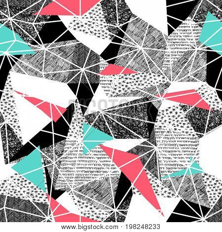 Geometric seamless pattern in retro style. Vintage background.Triangles and hand drawn patterns. Low poly seamless repeat pattern. Triangular facets.  raster pattern. Pink and Cyan Triangles